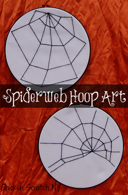 Embroidered Spider Web Hoop Art