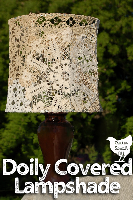 vintage doily covered lampshade