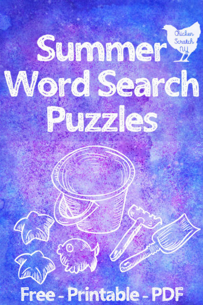 blue, pink and purple water color background with white summer beach supplies and text overlay sumer word search puzzles