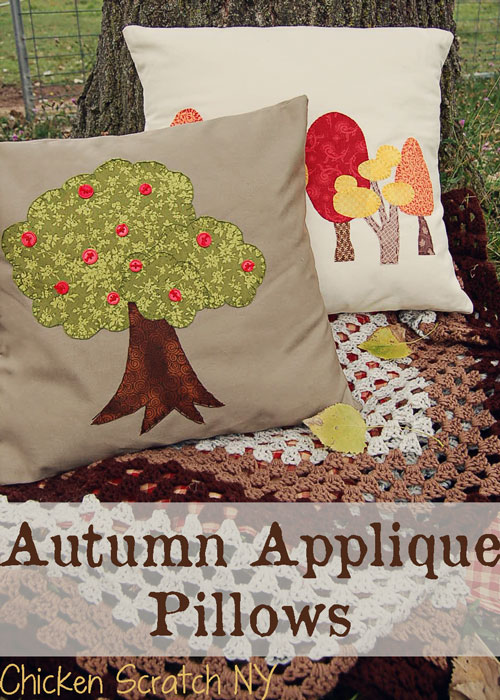 Fusible Applique Apple Tree Pillow