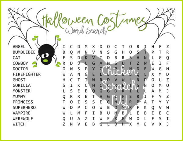 hard halloween costume word search
