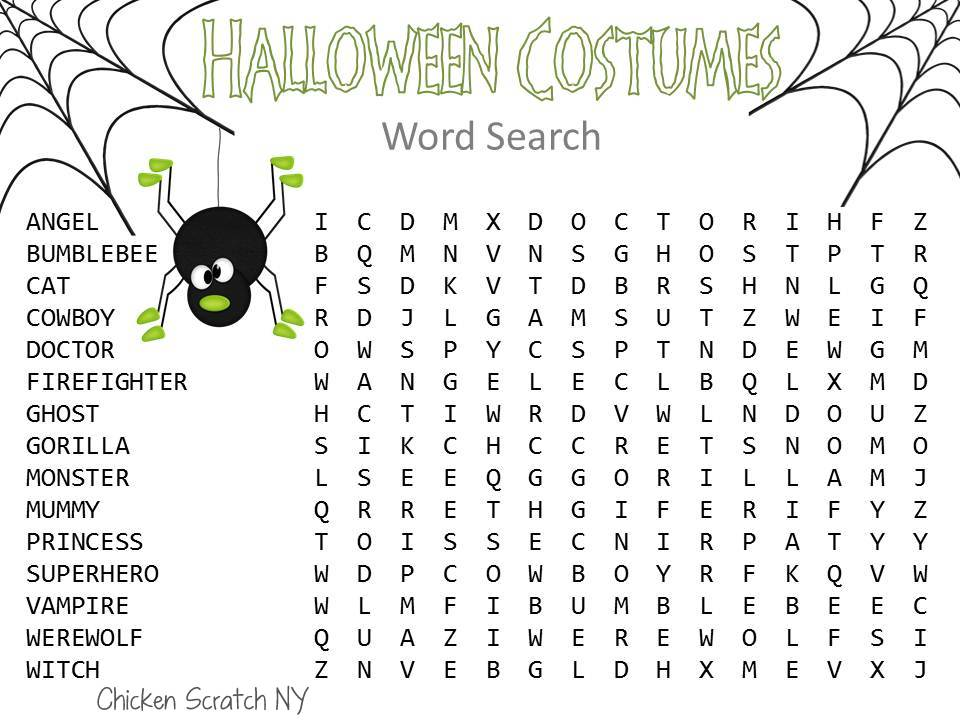 Free Halloween Word find