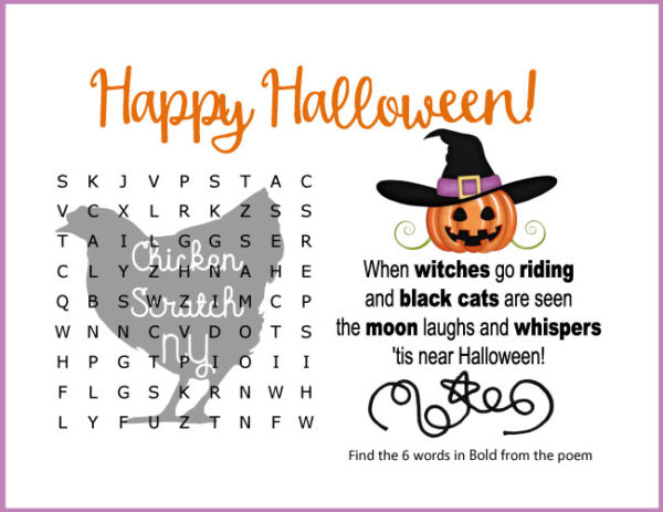 easy halloween word search with Halloween poem