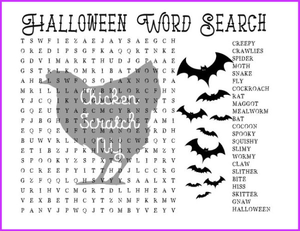 hard halloween wors search with bats and creepy crawly creature words