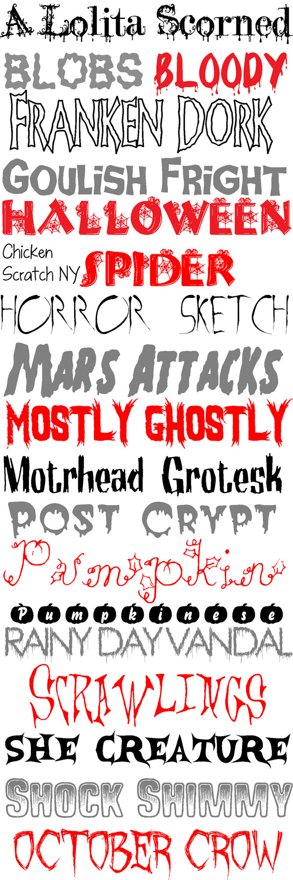 Fonts on the first october fonts roundup