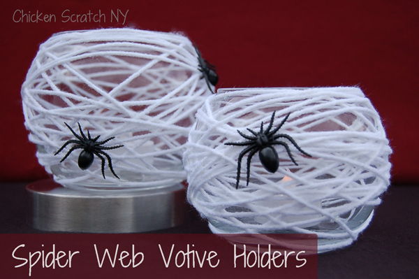 Spiderweb Halloween Candle Holder DIY from Dollar Store Vases