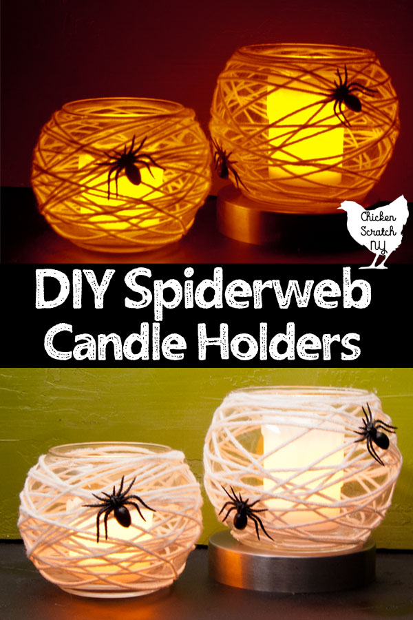 two glass votive holders covered with white yarn and black spiders to make Halloween candle holders