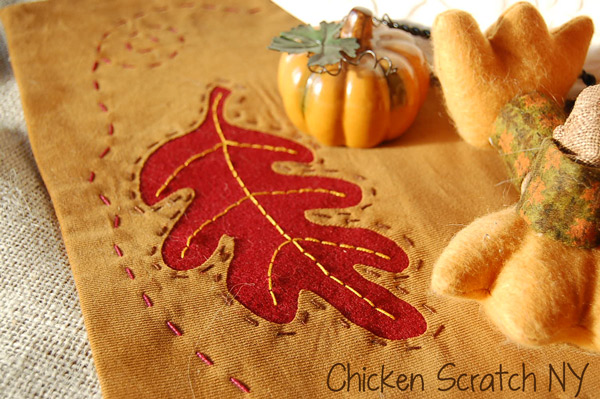 Autumn leaf embroidery