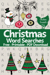 free pritnable christmas word seach puzzle PDFs