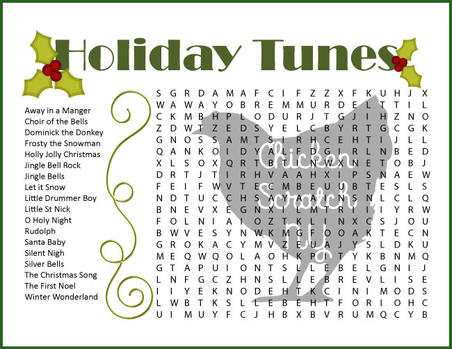Holiday tunes difficult christmas word search