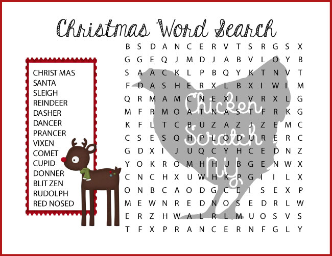 difficult reindeer christmas wordsearch