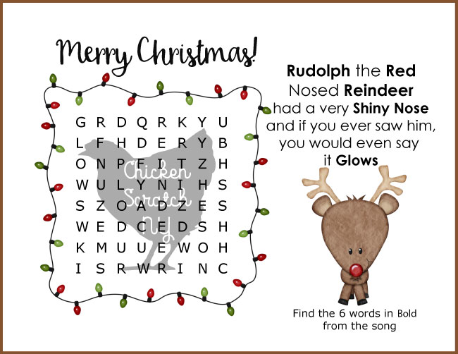 easy christmas reindeer word search