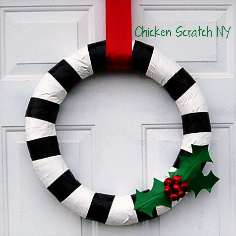 Duck Tape Holiday Wreath with #Ducktape Holly Leaves and Red Jingle Bell Berries