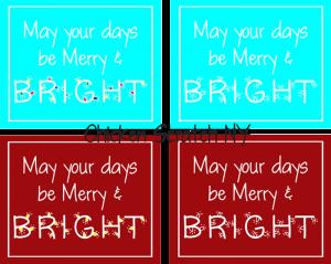 merry and bright aqua printable
