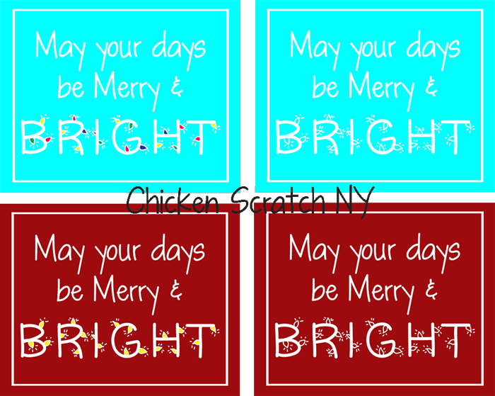 Merry and Bright Aqua or Burgundy Christmas Printable