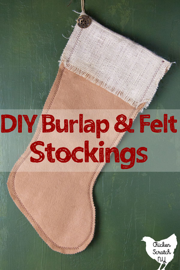 diy tan felt stocking with burlap cuff and vintage button decoration
