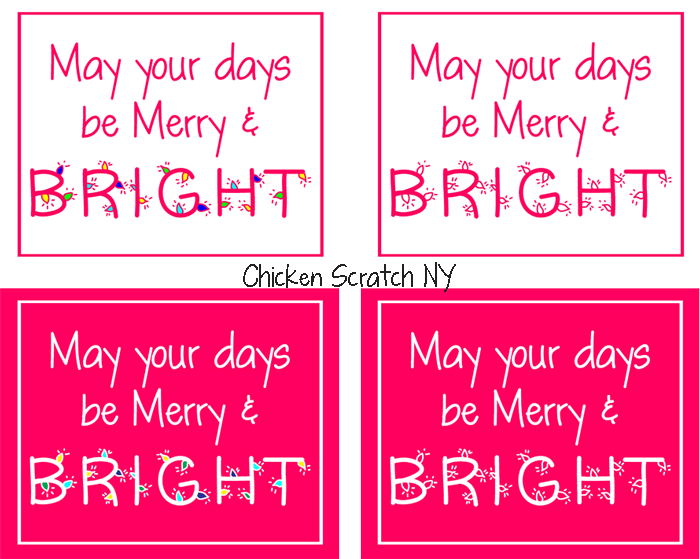 Merry & Bright Pink Christmas Printable