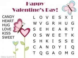 Free Kids Valentine's Word Find