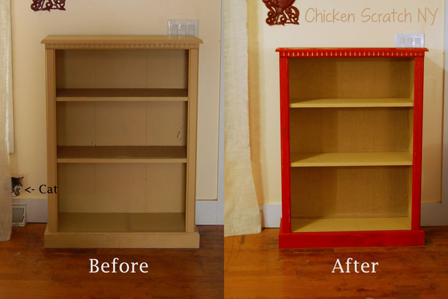 Because this is just a cheap-o laminate bookcase the background is actually  really thin press board. - Barn Red Bookcase Makeover With DIY Chalk Paint