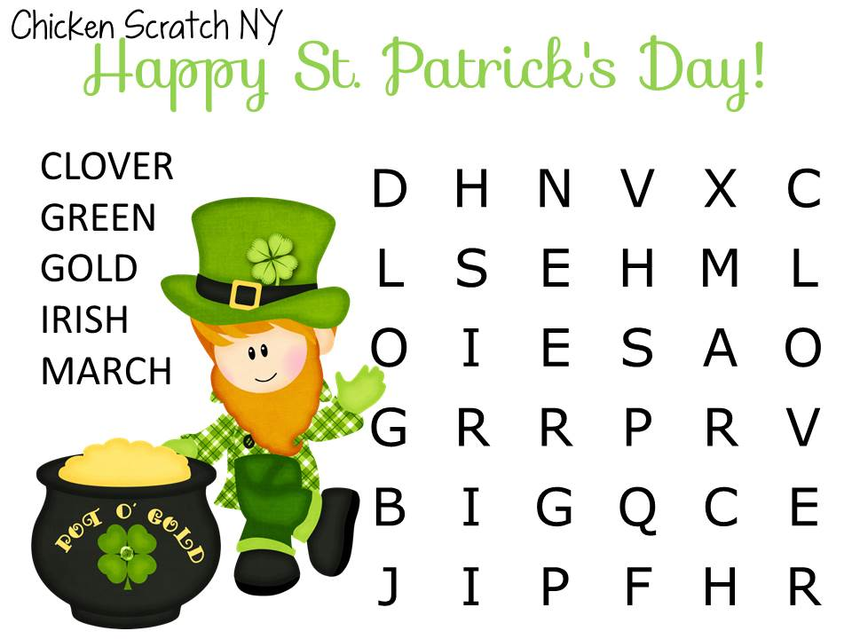 Free Kids St. Patrick's Day Wordsearch