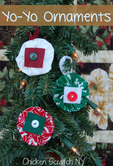 Stitch up a few quick Yo-Yo Christmas Ornaments to coordinate with your holiday decorations