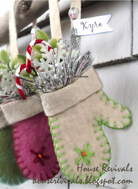 white felted wool mitten ornament1