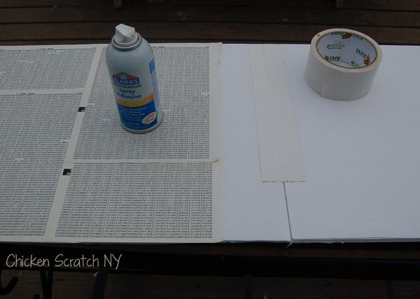 spray glue down the paper