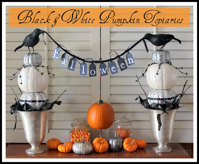 Black & white pumpkin topiaries for Halloween