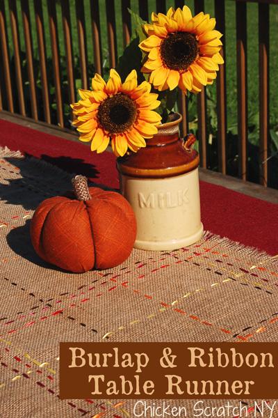 Autumn #Burlap and Ribbon Table Runner #DIY