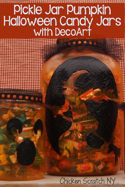 Pickle Jar Pumpkin #Halloween Candy Jars with #DecoArt Glass Paint