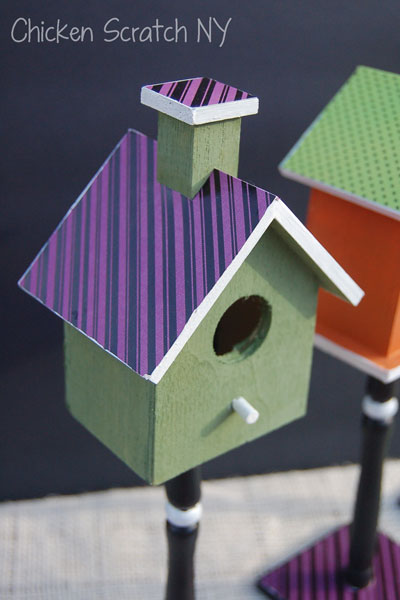 Mod Podge, Paper and Paint Halloween Bird House Decorations