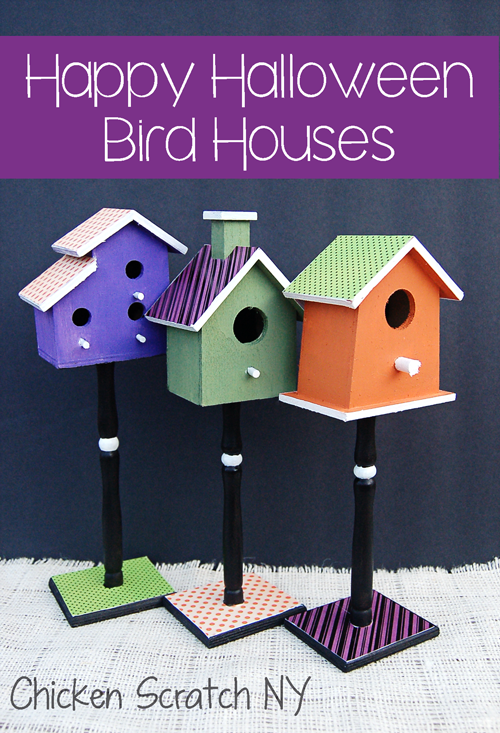 Cheerful #Halloween Birdhouses dressed up with #ModPodge, pretty paper and craft #paint