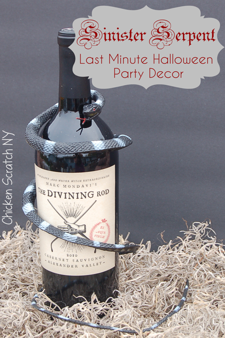 Sinister Serpent Last Minute Halloween Wine Bottle Decoration