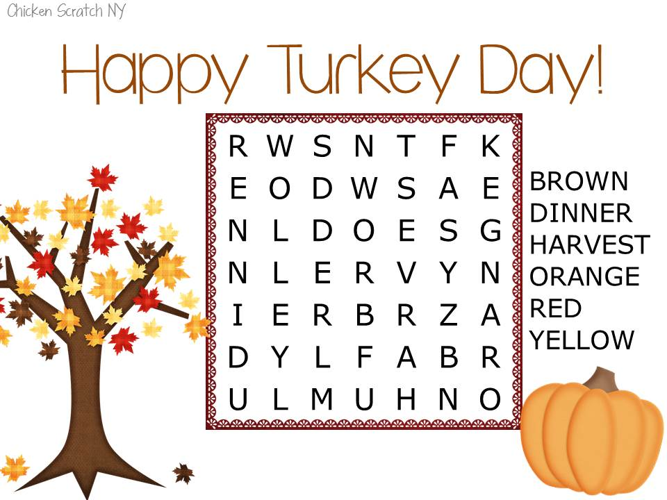 Easy Printable Thanksgiving Wordsearch