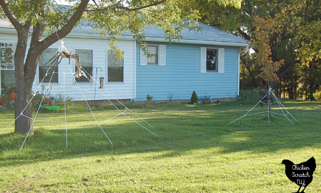 halloween diy spider webs decoration with large brown spider and smaller spiders made from cheap clothesline