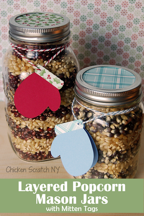 Layered Popcorn Mason Jars with Mitten Tags