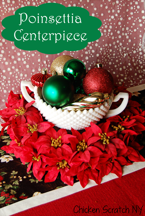 Make a pretty poinsettia wreath centerpiece with a straw wreath form, felt and fake poinsettias