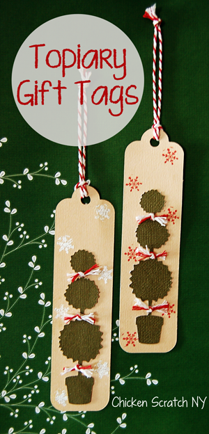 Layer die cut paper, stamps and twine to create festive topiary gift tags pretty enough to hang on the tree