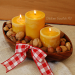 Beeswax Candle and Mixed Nuts Centerpiece