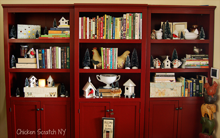 DIY Winter Village Bookcase Display
