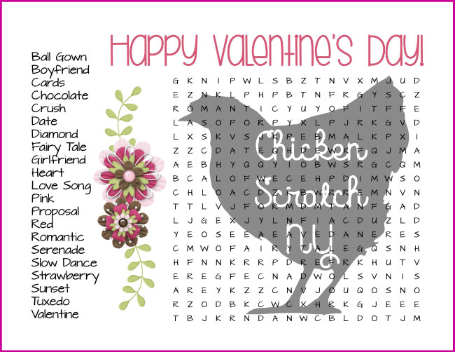 graphic about Valentines Puzzles Printable named Totally free Valentines Working day Printable Wordfinds
