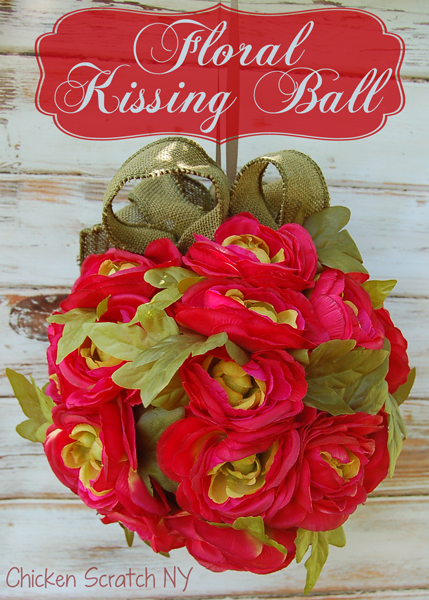 Everlasting Floral Kissing Ball with Burlap Ribbon