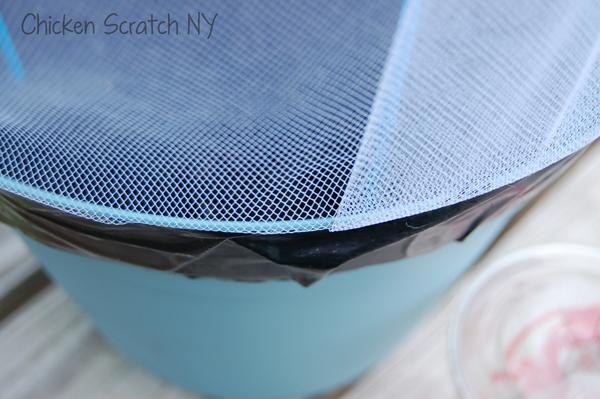 Tape netting to pot