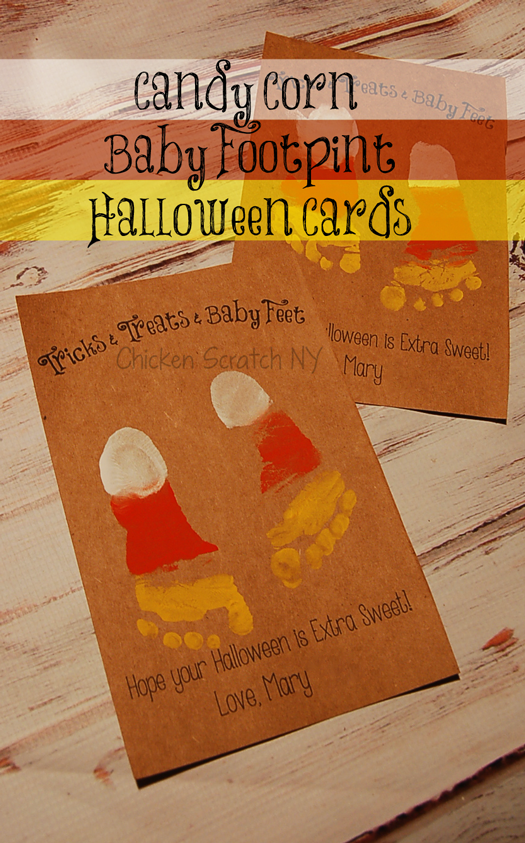 Capture your little ones tiny toes with a printable baby footprint Halloween card
