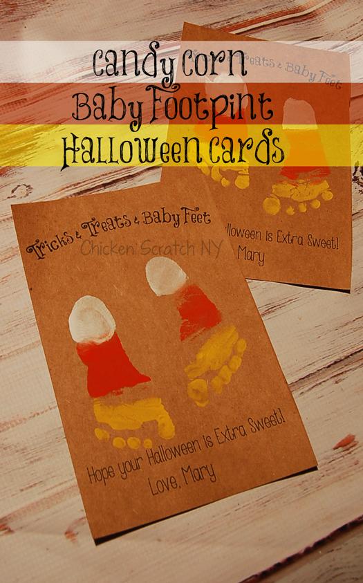 Baby Footprint Halloween Card