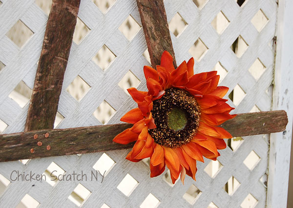 Add a perky sunflower to your Witch Hat Halloween Wreath