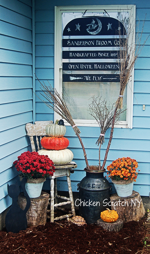 "Halloween Entry featuring a rustic sign welcoming visitors to the ""Sanderson Broom Co."""