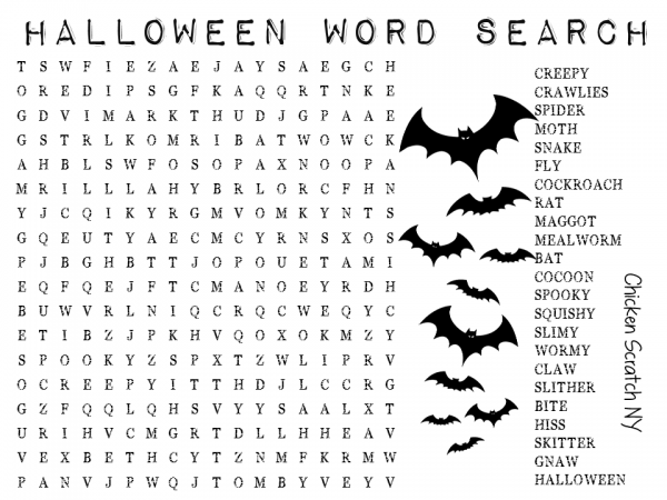 Printable Halloween Word Search | Chicken Scratch NY