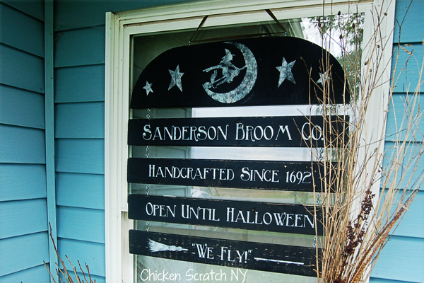 Craft your own Halloween window sign for the Sanderson Broom Co to welcome guests and ghouls