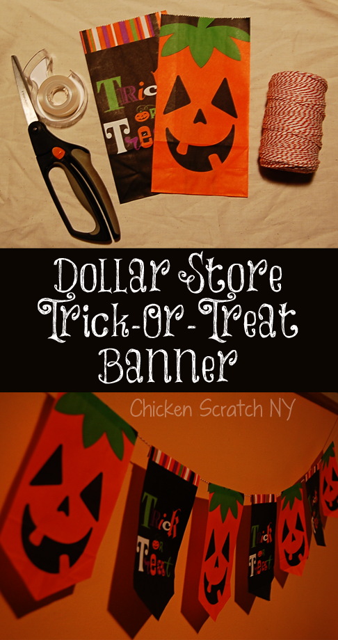 Turn Dollar Store Candy Bags into a cute and quick Halloween Banner